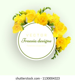 Vector card with yellow freesias and circle. Floral arrangement. Vector illustration, EPS10. Design greeting card and invitation of the celebretions.