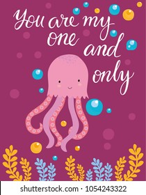 vector card you are my one and only. cute whale. undersea world. axis