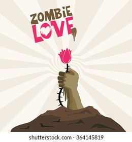 vector card zombie love.  hand sticks out of the grave and holds a pink flower. Illustration for the book, magazine. Risen zombies rotten hand. love Relationship