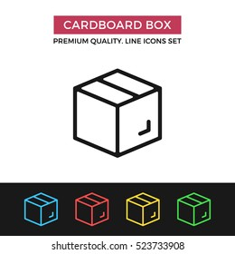 Vector cardboard box icon. Parcel, delivery, moving. Premium quality graphic design. Signs, outline symbols collection, simple thin line icons set for websites, web design, mobile app, infographics