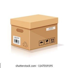 Vector cardboard box, isolated on white background, illustration