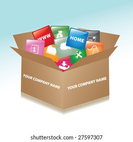 Vector cardboard box whit web buttons / promotional box