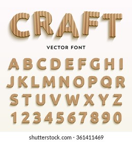 Vector cardboard letters. Realistic paper style font. Typeface made of old brown boxes. Latin alphabet and numbers from A to Z and from 1 to 0.
