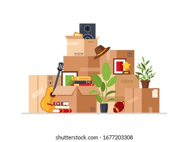 Vector cardboard packaging boxes in flat cartoon style. Concept for home moving. Delivery box package with various household thing. Family relocated to new house. Clothes, books, plants, guitar, ball.