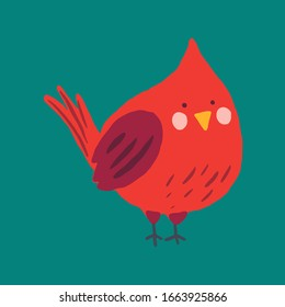 Vector cardinal red bird. Cute hand drawn cartoon animal. Flat element for you design, perfect for card, sticker, poster, packaging, t short print or baby cloth.