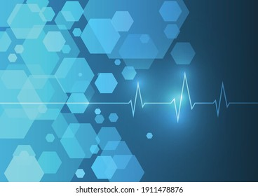 Vector : Cardiogram and hexagons blue medical background