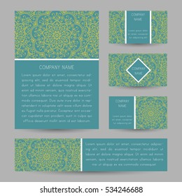 Vector cards with abstract floral doodle ornament. Invitation cards, flyers, business card.