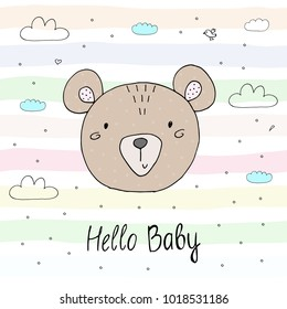 Vector cards for Baby Shower with cute bear. Hello baby.