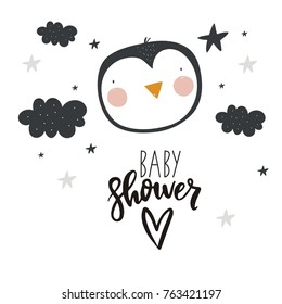 Vector cards for Baby Shower with penguin