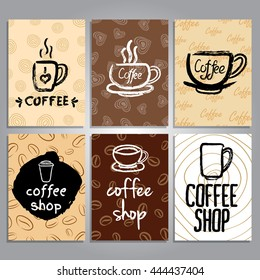 vector cards with coffee theme design, collection of cards, creative cards coffee elements,