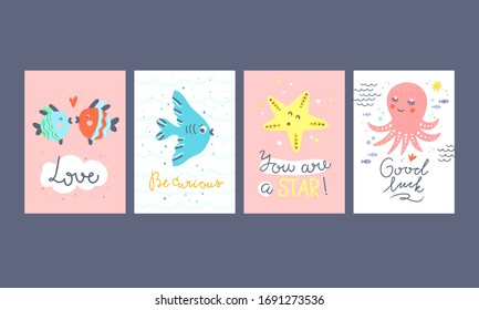 Vector cards collection with sea animals and creatures. Kids posters with underwater fishes and lettering