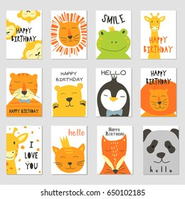 Vector cards with cute illustration of animal faces for banners, flyers,placards . Vector clip art for children.