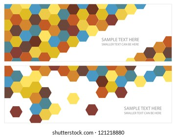 vector cards design with hexagonal shapes and place for your text isolated on white background