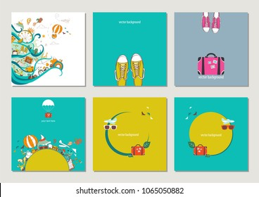 Vector cards of dreams about travel and vacation. Set of illustrations.