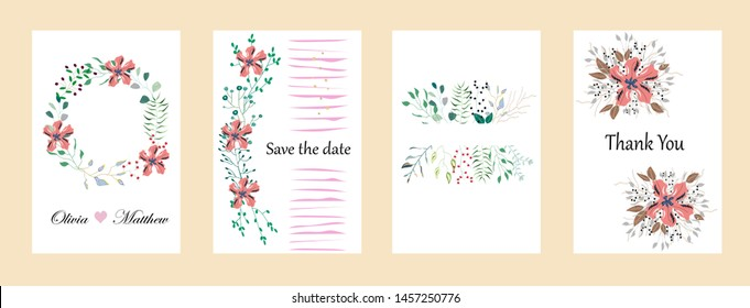 Vector cards with flowers,leaves. Botanic  Design for banner, wedding, poster, invitation, cover, placard, brochure, header.