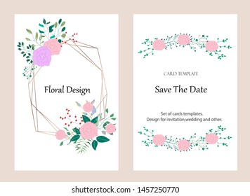 Vector cards with flowers,leaves and geometric. Botanic  Design for banner, wedding, poster, invitation, cover, placard, brochure, header.