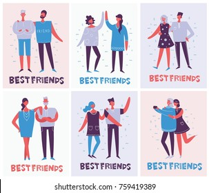 Vector cards of the group of happy fashion people - best friends in a flat style