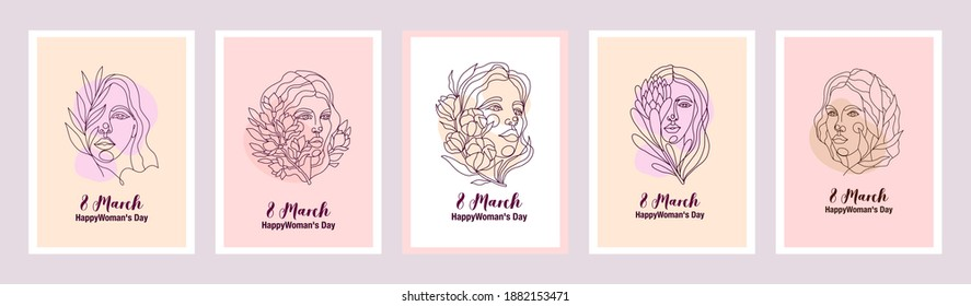 Vector cards with illustrations with women faces. International womens day series of postcards. Sisterhood and Feminism. Set of graceful line art postcards.