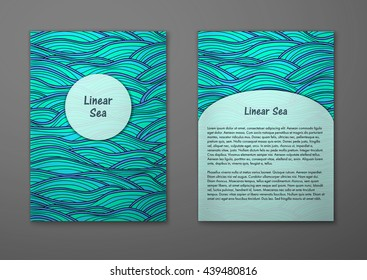 Vector cards with pattern, abstract waves texture. 
