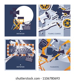 Vector cards set dedicated to filming, movie making and cinematographer profession. Square designs template with directors chair, filmstrip, backstage mirror, good for invitation and print