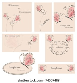 Vector cards set  with flowers and pink butterflies