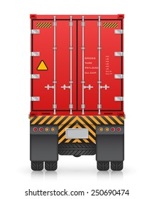 Vector of cargo container on truck for shipping and transportation isolated on white background.