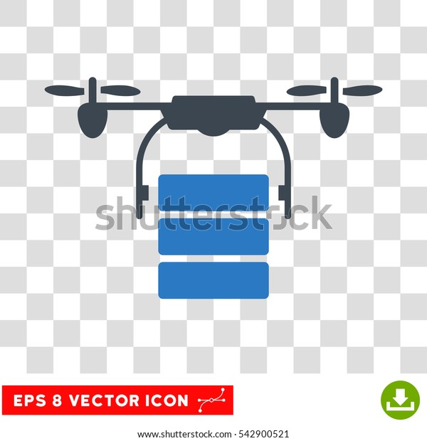 Vector Cargo Drone EPS vector icon. Illustration style is flat iconic bicolor smooth blue symbol on a transparent background.