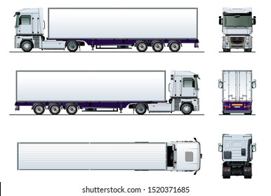 Vector cargo semi trailer truck mockup for car branding and advertising. Available EPS-10 separated by groups and layers with transparency effects for one-click repaint