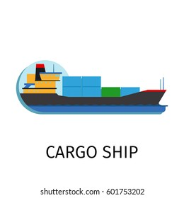 Vector cargo ship in flat style with sign on white background
