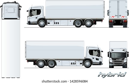 Vector cargo truck generation hybrid engine template on white for car branding and advertising. Available EPS-10 separated by groups and layers with transparency effects for one-click repaint.