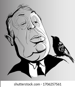 Vector caricature of Alfred Hitchcock with a crow - vector illustration (Ideal for printing on fabric or paper, poster or wallpaper, house decoration)