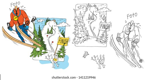 Vector caricature of a skier athlete. Funny, cartoon template for photo of the skier. Caricature on people. The comic image of people for celebratory events.Hand-drawn man on skis.
