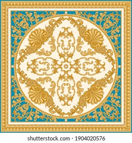 Vector carpet print on a beige and turquoise background. Fashionable pattern from gold carved frames, Baroque scrolls, Rococo shells. Scarf, shawl, neckerchief, rug. 3 pattern brushes in the  palette