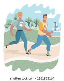 Vector carrtoon illustrationo of Cheerful couple friends running in park. Man and woman caracters run.