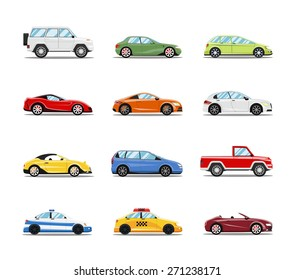 Vector Cars Collection. Vehicles in flat style on white background