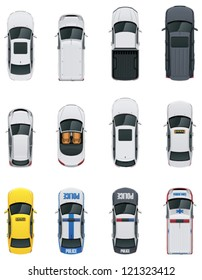 Vector cars icon set. From above view. Includes sedan, commercial van, truck, wagon, cabrio, sport car, hatchback, taxi, police and ambulance vehicles