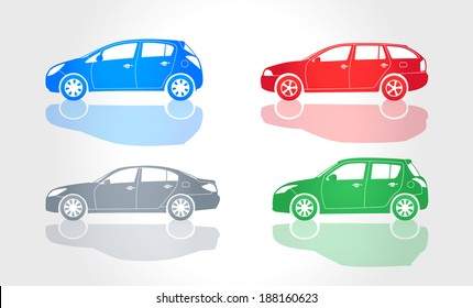 Vector Cars Icons - Side View