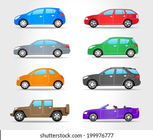 Vector Cars Icons - Side View - Colorful