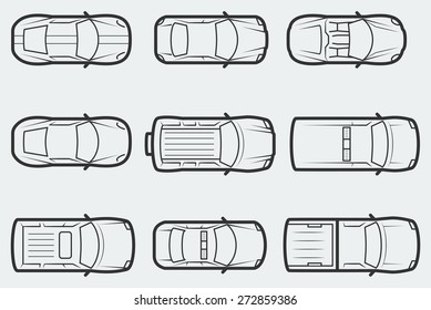 Vector cars in outline style, top view