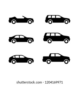 Vector cars - set of vector monochrome automobiles with different car body - sedan, offroad, roadster, pickup, universal, hatchback - icons collection