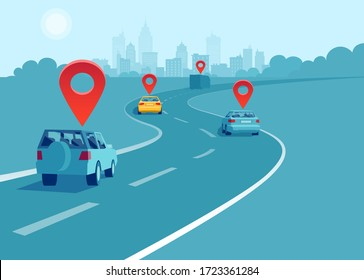 Vector of cars and trucks driving on a highway with geo location signs. Concept of navigation and direction.