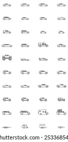 Vector cars and vans icon set
