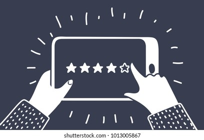 Vector cartioon illustration of rating stars app. Hands holding tablet and review. Five golden stas. Black and white outline modern concept on dark bakcground.