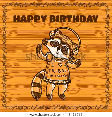 Vector Carton Greeting Card Happy Birthday With Cute Smiling Raccoon Vine Frame