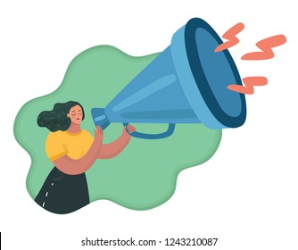Vector carton illustration of A female speaker holding a big giant megaphone. Promoter advertising using a speaker. Woman speaking. Social media marketing concept. V