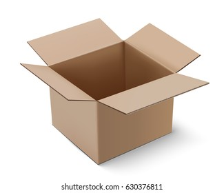 vector Carton package box opened on white