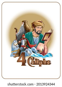 Vector Cartoon the 4 Caliphs is the term used to refer to the heads of various Islamic kingdoms.