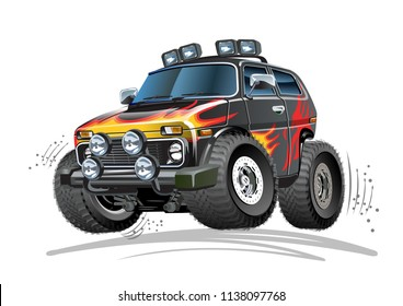 Vector Cartoon 4x4 Car. Available EPS-10 vector format separated by groups and layers for easy edit