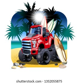 Vector cartoon 4x4 car on beach. Available EPS-10 vector format separated by groups and layers with transparency effects for one-click recolour