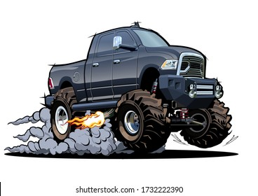 Vector Cartoon 4x4 pickup isolated on white background. Available EPS-10 separated by groups and layers with transparency effects for one-click repaint